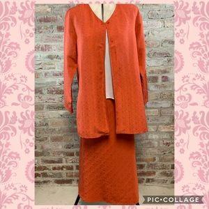 Eileen fisher silk linen skirt jacket suit set
